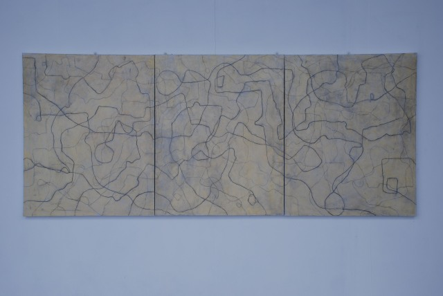 Between the beginning and the end there is only uncertainty.  Oil and charcoal on canvas, 127 x304 cms.  2007.